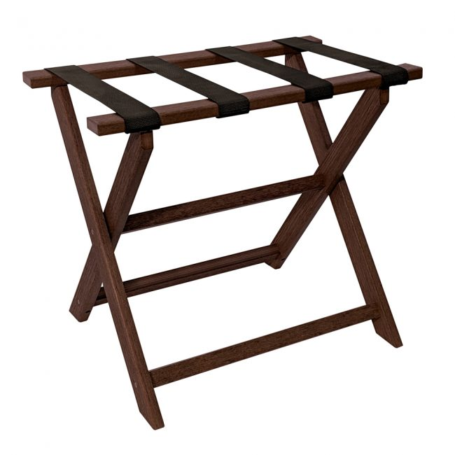 Gate House Furniture Dark Brown Wood Grain Straight Leg ECO Luggage Rack with 4 Black Nylon Straps
