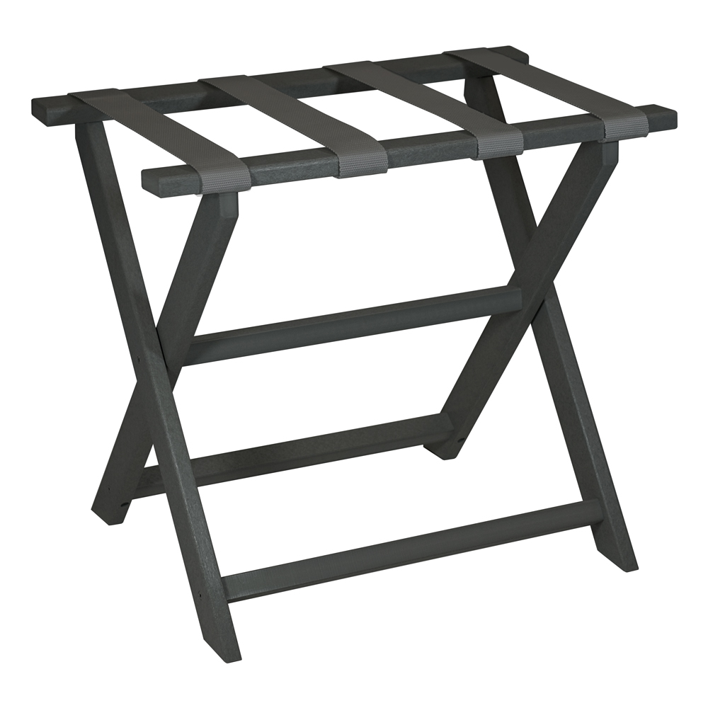 Gate House Furniture Dark Grey Straight Leg ECO Luggage Rack with 4 Grey Nylon Straps