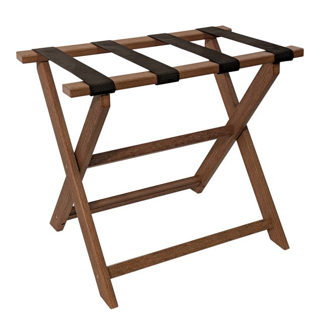 Gate House Furniture Light Brown Wood Grain Straight Leg ECO Luggage Rack with 4 Black Nylon Straps