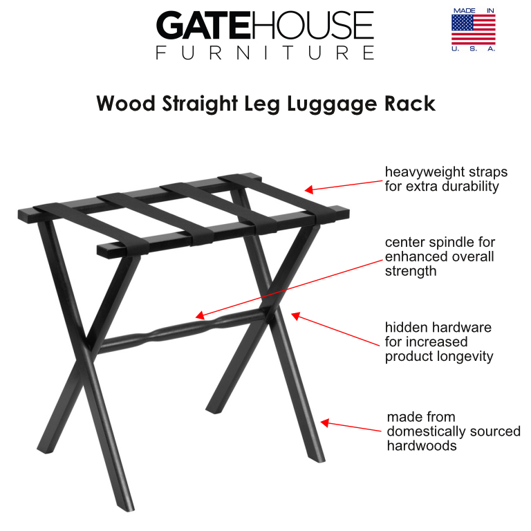 Hospitality wood straight leg luggage racks gate house for Gatehouse furniture