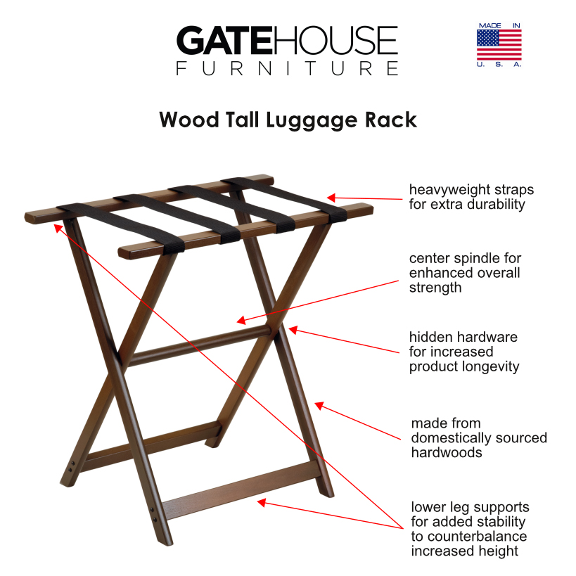 Hospitality wood tall luggage racks gate house furniture for Gatehouse furniture
